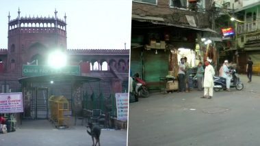 Ramadan 2021: Many Shops Near Delhi's Jama Masjid Remain Closed on First Day of The Holy Month of Ramzan Amid COVID-19 Scare