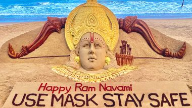 'Use Mask, Stay Safe!' On Ram Navami 2021, Sudarsan Pattnaik Creates Massive Sand Art of Lord Rama With a Message on Puri's Golden Beach (See Pic)