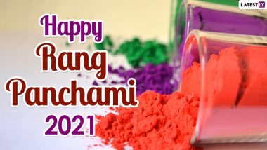 Happy Rang Panchami 2021 Messages and WhatsApp Stickers: Celebrate Colours With Rangapanchami Facebook Greetings, Signal Wishes and Pancha Tattva Telegram HD Images