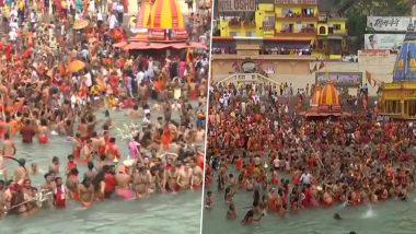 Kumbh 2021: Sadhus Take Holy Dip in Ganga at Har Ki Pauri During Somvati Amavasya Shahi Snan in Haridwar (Watch Video & Pictures)