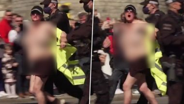 Prince Philip's Funeral: Topless Woman Yells 'Save the Planet' & Interrupts the Duke of Edinburgh's Final Rites, Gets Arrested Outside Windsor Castle (Watch Video)
