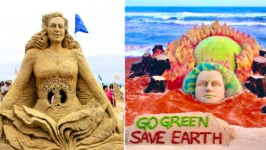 Earth Day 2021: Sudarsan Pattnaik Shares Pics of Beautiful Sand Art of Mother Earth With a Powerful Message