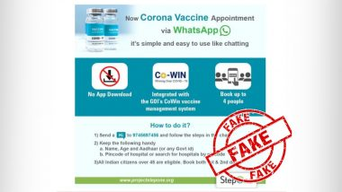 COVID-19 Vaccination Appointment Can Be Booked Through WhatsApp? PIB Fact Check Reveals The Truth Behind Viral Image