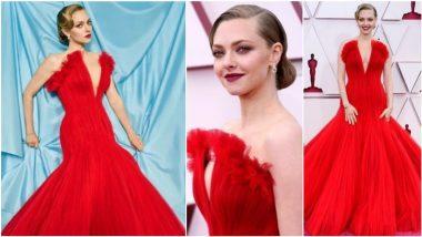 Amanda Seyfried Looks Elegant in Strapless Scarlet Giorgio Armani Prive Tulle Ball Gown (View Pics)