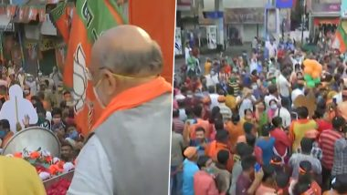 West Bengal Assembly Elections 2021: Amit Shah Holds Roadshow in Habra (Watch Video)