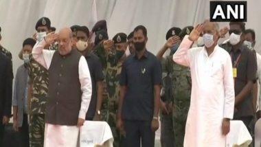 Bijapur Naxal Attack: Amit Shah, CM Bhupesh Baghel Lay Wreath on Coffins of 14 Security Personnel in Chhattisgarh