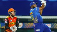 Kieron Pollard Smashes Biggest Six of IPL 2021, Scores 105m Six During MI vs SRH Match