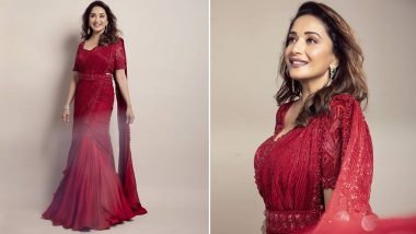 Madhuri Dixit in a Classic Pre Draped Shimmery Red Saree is a Sight To Behold (View Pics)