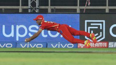 IPL 2021: Ravi Bishnoi Takes Spectacular Diving Catch to Dismiss Sunil Narine During PBKS vs KKR Clash (Watch Video)