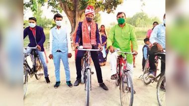 Uttar Pradesh: Groom Cycles His Way to Bride's House With His Friends to Spread COVID-19 Norms