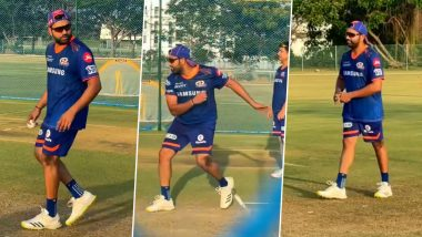 IPL 2021: Rohit Sharma Spotted Bowling in Nets Ahead of KKR vs MI Clash (Watch Video)