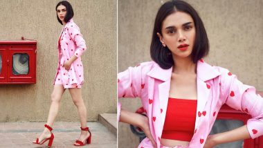 Aditi Rao Hydari Picks a Cute Red and Pink Co-Ord Set and We're all 'Hearts' For It (View Pic)