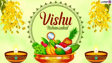 Happy Vishu 2021 HD Images, Wallpapers & Greetings: Send Vishu Ashamsakal Messages, Vishu Wishes in Malayalam, Telegram HD Images & WhatsApp Stickers to Celebrate Kerala New Year