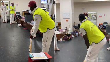Darren Bravo, Hayden Walsh Enjoy Cricket Inside Dressing Room as West Indies vs Sri Lanka 2nd Test Halts Due to Rain