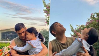 MS Dhoni's Adorable Picture With Daughter Ziva Goes Viral on Social Media, Fans Say They Miss Seeing Her Cheer for the Cricketer