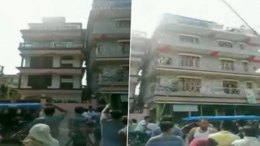 Earthquake in Assam: Building in Nagaon Tilts After Quake With a Magnitude of 6.4 Hit Sonitpur Today (Watch Video)