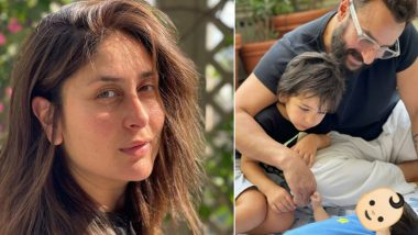 Kareena Kapoor Khan Shares Glimpse of Her Baby Boy With Saif Ali Khan and Taimur, Hides His Face With an Emoji (View Pic)