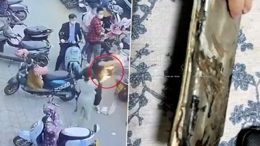 China: Phone Catches Fire Inside Man's Bag on a Crowded Street; Terrifying Video Goes Viral