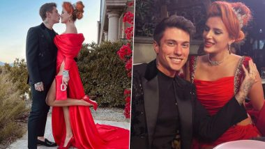 XXX OnlyFans Star Bella Thorne Wears Sultry Red Evening Gown with a Dramatically High Slit for Her Engagement with Fiancé Benjamin Mascolo