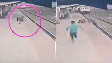 Mayur Shelkhe, Central Railway Employee, Saves Child From Being Run Over by Speeding Train at Vangani Railway Station in Thane District (Watch Video)
