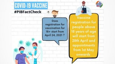 COVID-19 Vaccine Registration for All Above 18 Years To Begin From April 24? PIB Fact Check Debunks Fake News, Know Truth Behind Viral Post