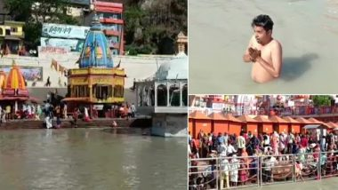 Kumbh Mela 2021: People Seen Taking Holy Dip in River Ganga in Haridwar on Chaitra Purnima, the Last 'Shahi Snan' of Kumbh (See Pics)