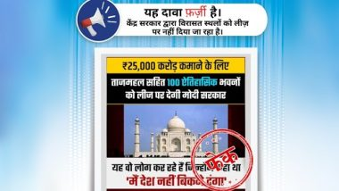 Taj Mahal and 99 Other Heritage Sites in India To Be Given on Lease by Govt? PIB Fact Check Reveals Truth Behind Fake Social Media Post