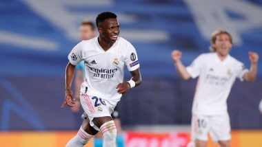 Vinicius Junior Becomes Second Youngest Goal Scorer for Real Madrid in UCL Knockouts (Watch Video)
