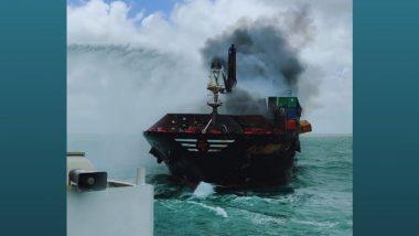 Sri Lanka Navy Continues Fire Fighting Efforts Onboard Ship X-Press Pearl Vessel