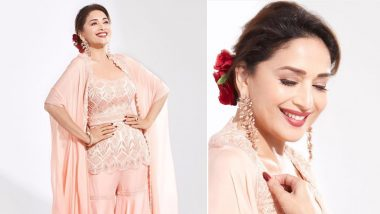 Madhuri Dixit Exudes Glam And Elegance In Her Traditional Peach Sharara Dress