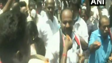 Tamil Nadu Assembly Elections Results 2021: Despite EC Ban on Victory Processions, DMK Workers Celebrate Outside Party Headquarters in Chennai