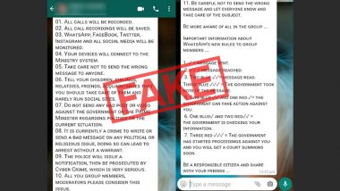 Government Recording Your WhatsApp Calls and Monitoring Facebook, Twitter and Instagram Under New Communication Rules? Here's The Truth Behind The Viral Message