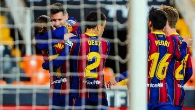 Valencia 2–3 Barcelona, La Liga 2020–21 Match Result: Lionel Messi Double, Antoine Griezmann Lead Barca to Victory