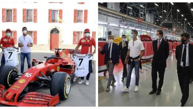Cristiano Ronaldo Poses for Snap With Charles Leclerc & Carlos Sainz After Skipping Juventus Practice Session, Gives Ferrari Racers His Autographed Jersey (See Pics)