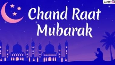 Chand Raat Mubarak 2021 Greetings: Eid al-Fitr Mubarak WhatsApp Stickers, Facebook Messages, HD Images and GIF Wishes to Send After Moon Sighting