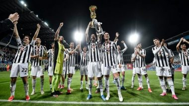 Cristiano Ronaldo, Paulo Dybala, Gianluigi Buffon, Andrea Pirlo Wild Celebrations With Team Juventus After Winning Coppa Italia 2021 Title (Watch Videos)