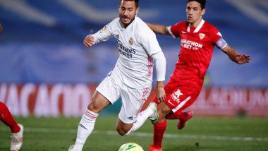 Real Madrid 2–2 Sevilla, La Liga 2020–21 Result: Late Eden Hazard Goal Rescues a Point for Los Blancos, Keep Title Race Alive