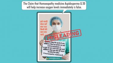 Can Aspidosperma Q 20 Homeopathy Medicine Be Taken As Substitute For Oxygen? Here Is The Truth Behind Fake Message Going Viral