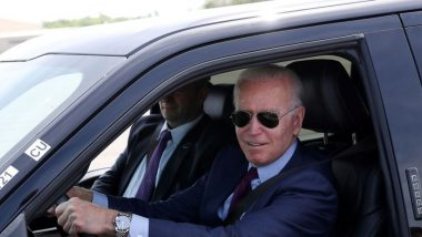 'This Sucker's Quick': Joe Biden Takes Test Drive of Ford's Electric F-150 Lightning in Dearborn (Watch Video)