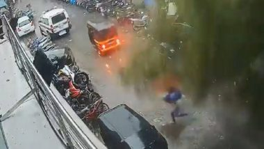 Mumbai: Narrow Escape for Woman as Giant Tree Falls on Street Amid Heavy Rains Due to Cyclone Tauktae (Watch Video)