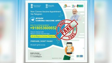 COVID-19 Vaccination Appointment Can Be Booked on Telegram Using 'MyGov Corona Vaccine Appt'? PIB Fact Check Debunks Fake News Going Viral on Social Media