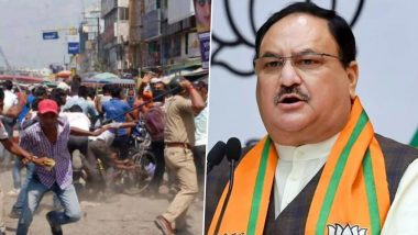 West Bengal Post-Poll Violence: BJP President JP Nadda Joins Protest in Kolkata, Says 'Those Who are Supposed to Protect The People Are Responsible For This Violence'