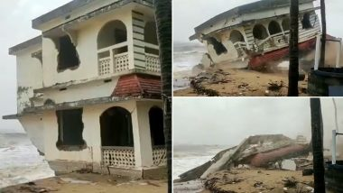 Cyclone Tauktae Impact: House Collapses Into Sea in Kasargod After Heavy Rainfall Lashes Kerala (Watch Video)