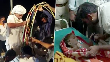 Rajasthan: 4-Year-Old Boy Anil, Who Fell into 95-Feet-Deep Open Borewell in a Village in Jalore, Rescued (See Pics)