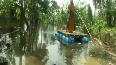 Cyclone Yaas Aftermath: Villagers Use Rafts To Commute in Submerged Villages of West Bengal's East Midnapore