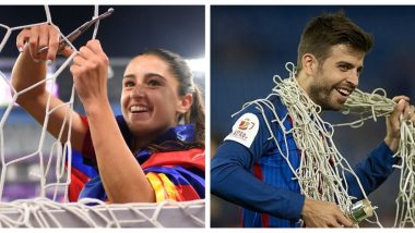 Jana Fernandez Replicates Gerard Pique After Barcelona's 4-0 Win Over Chelsea in Women's Champions League 2021, Cuts the Net As a Part of Celebration (See Pics)