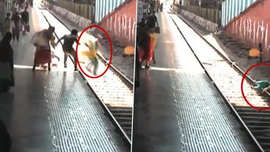 Maharashtra Police Personnel Saves Accused Woman Trying To Jump In Front Of A Train At Dadar Railway Station In Mumbai (Watch Video)