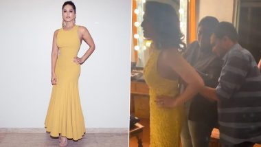 Sunny Leone Shares a Funny Video Where Her Team Struggles To Fit Her Into a Beautiful Yellow Gown – WATCH