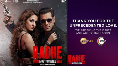 Salman Khan's Radhe Crashes ZEE5 Server Upon Its Release, App Makers Promise To Be 'Back Soon'