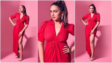Huma Qureshi Strikes a Pose In Her Red Hot Midi Dress For Maharani Promotions